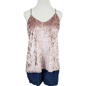 Renvy Crushed Velvet Tank Top Champagne Small